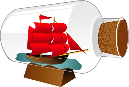 model sailboat with red sails in the souvenir bottle