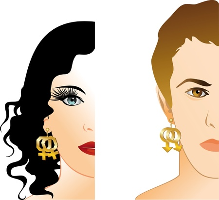 portraits of boy and girl with earrings in the form of homosexual symbolism Vector