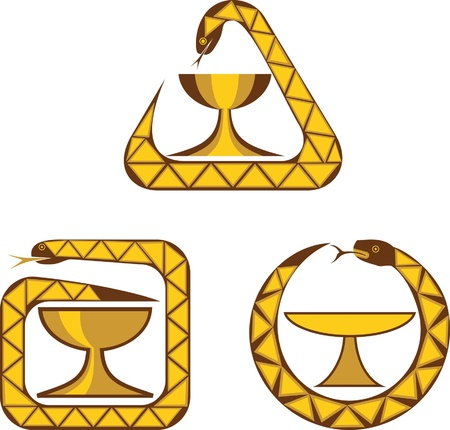asclepius: three variations of medical symbol - a bowl and a snake on isolated background