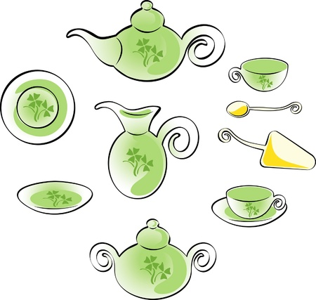 dinner set with green design for tea on an isolated background Vector