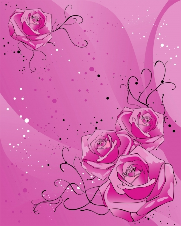 background with pink roses and black swirls Stock Vector - 15466529