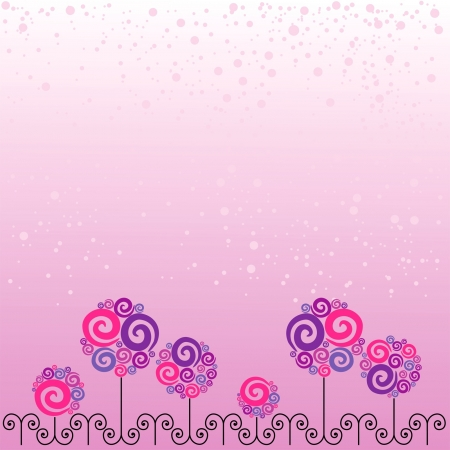 card with pink bouquets and black swirls