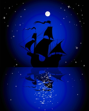 silhouette of a sailing ship at night under the moon Stock Vector - 15466528
