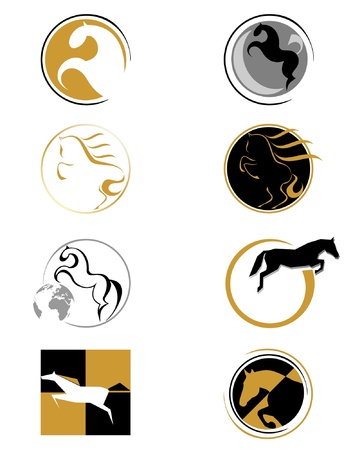 horse running: set of logos with stylized horse