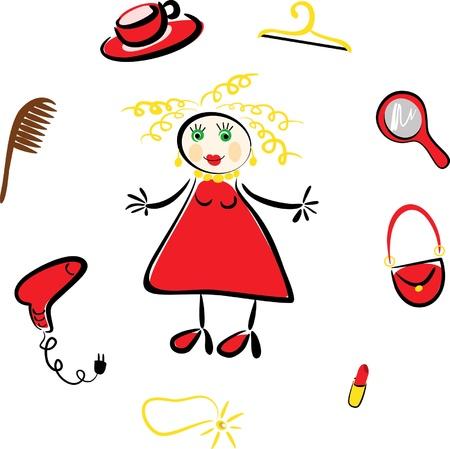 artigos de higiene pessoal: loira imagem em quadrinhos e uma s�rie de itens de cosm�ticos Ilustração