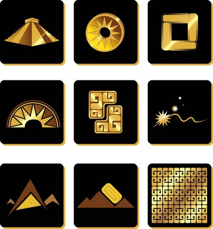 gold set in the style of South American Indians Vector