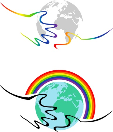 stylized image of hands hugging the Earth and the rainbow Stock Vector - 15954511
