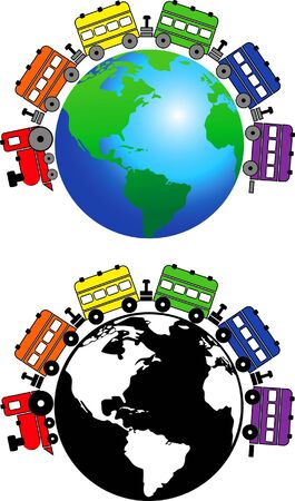 train symbols moves around the globe Illustration