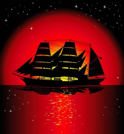 galleon: large sailing ship on a background sunset