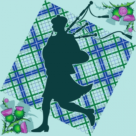 Scottish bagpiper on the background of plaid and thistle flowers