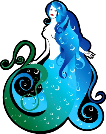 Isolated image sea mermaid with flowing hair and air bubbles