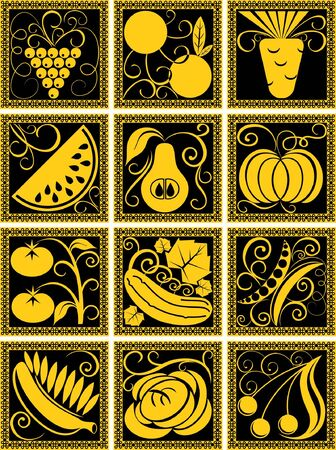 stylized set of fruits and vegetables in black and gold colors Illustration