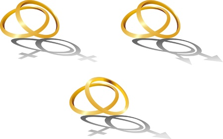 Isolated image of gold wedding rings with symbolic shadows Vector