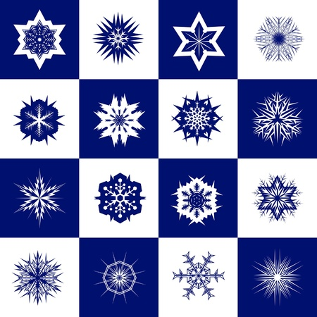 vector set of snowflakes on a blue checkered background Stock Vector - 16429008