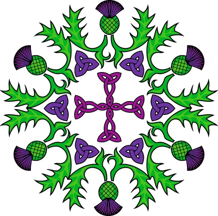Celtic cross in a circle wreathed with flowers of thistles
