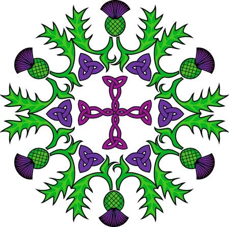 distel: Keltisches Kreuz in einem Kreis mit Blumen von Disteln umkr�nzt