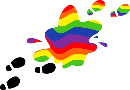 symbolic footprints in a pool of rainbow color on the isolated background Illustration