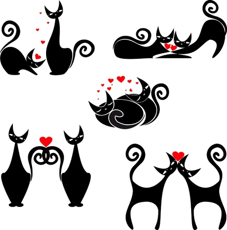 vector set of images of cats to St  Valentine s Day Illustration