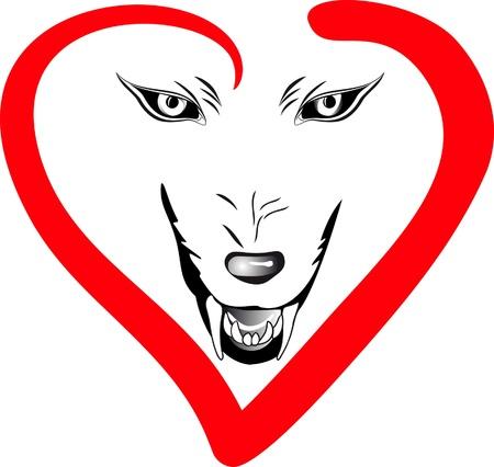 wilkołak: twarz wilk na tle pojedyncze w ramce serc Ilustracja