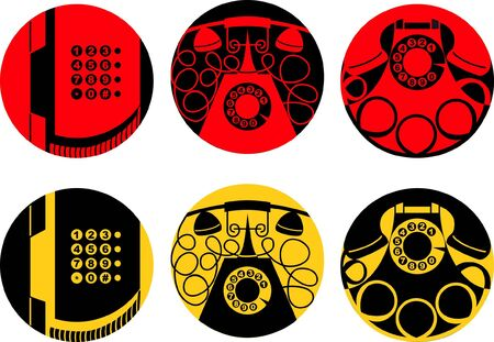vector set of stylized images of old phones Vector