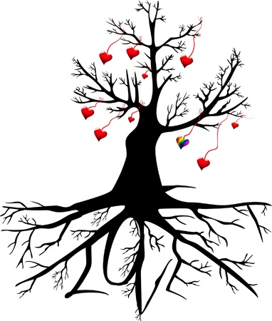 silhouette of a tree with red and a rainbow hearts on the branches and the word  LOVE  on the roots