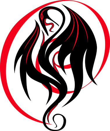 dragon tattoo design: isolated stylized image of a black and red dragon Illustration