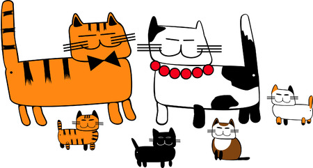 cat s: funny image cat s family on an isolated background