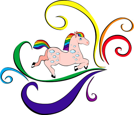 pony ride: isolated image of a horse with a rainbow mane and tail