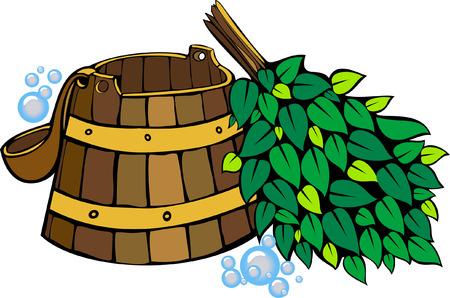 sauna equipment - wooden washtub, ladle and birch sauna broom