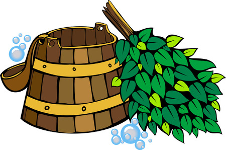 sauna equipment - wooden washtub, ladle and birch sauna broom