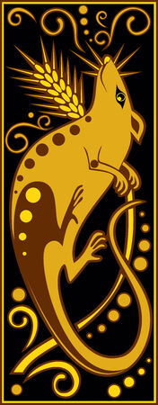 chinese horoscope: vector image one of the twelve signs of the Chinese horoscope - rat Illustration