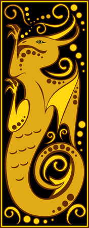 chinese astrology: vector image one of the twelve signs of the Chinese horoscope - dragon