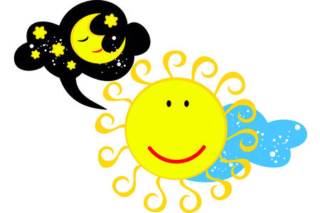 isolated funny vector image of the sun that thinks about the moon