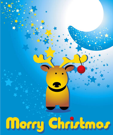 Greeting card with funny Christmas deer and the moon Illustration