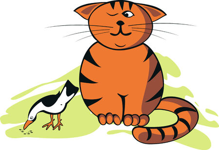 Funny vector illustration with cute cat and bird