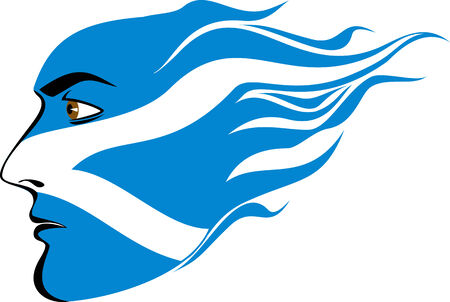 scotland flag: male face painted in the colors of the Scottish flag