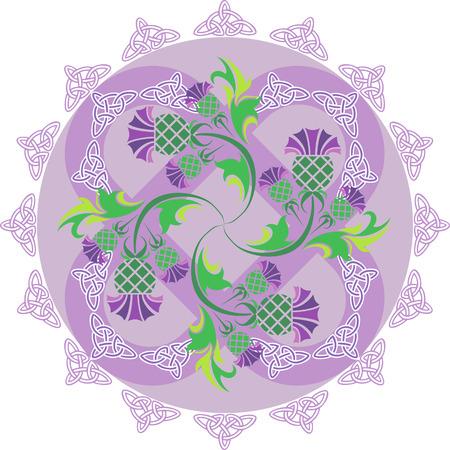 ostrożeń: obrazu wektorowego celtyckie symbole ornament z kwiatów ostu i węzłów celtyckich