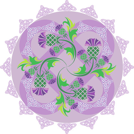 vector image celtic symbols ornament with flowers thistle and Celtic knots Illustration