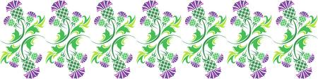 ornamento del vector horizontal con flores de cardo