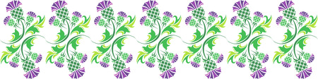 thistle plant: vector horizontal ornament with flowers of thistle