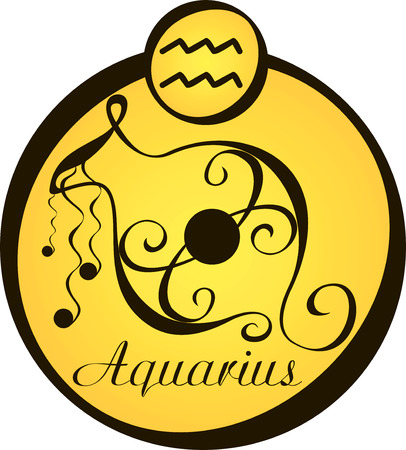 psychic: stylized zodiac signs in a yellow circle - aquarius Illustration