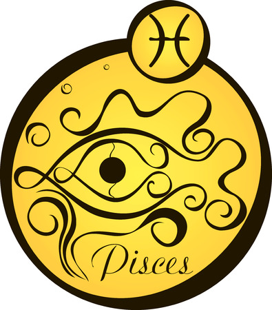 psychic: stylized zodiac signs in a yellow circle - pisces