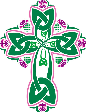 Vector imade Celtic cross with flowers of thistles