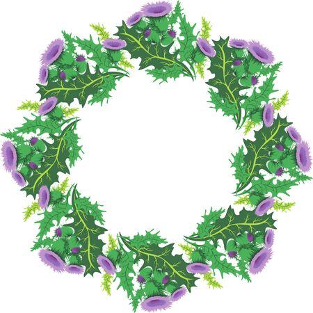 ostrożeń: grafika wektorowa piękne vignette okrągłe kwiatów ostu