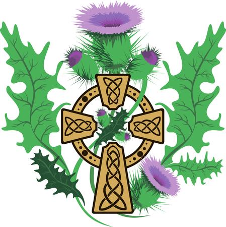 celtic cross: vector image stylized Celtic cross framed thistle flowers