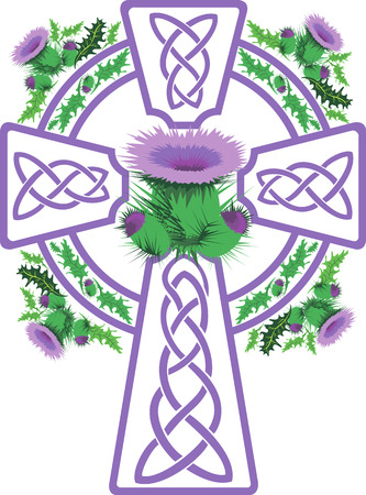thistle: vector image stylized pink Celtic cross framed thistle flowers