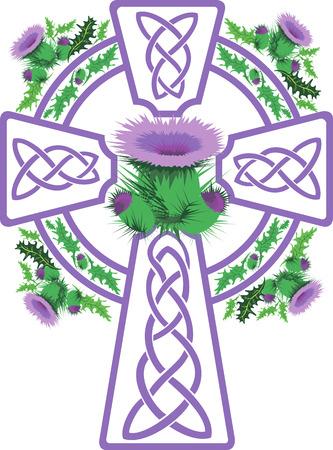 celtic cross: vector image stylized pink Celtic cross framed thistle flowers