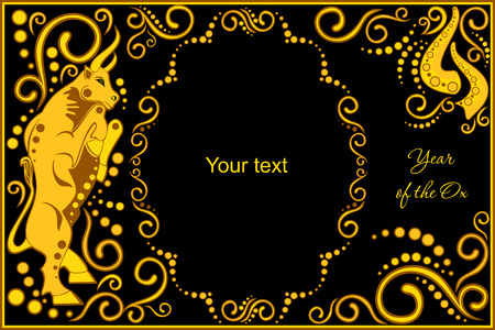 vector template with sign chinese horoscope in black and gold colors - ox