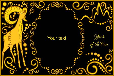 chinese horoscope: vector template with sign chinese horoscope in black and gold colors - ram