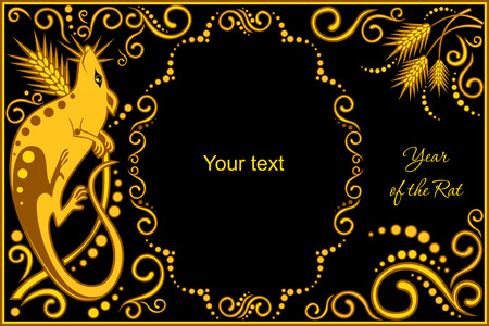 chinese zodiac: vector template with sign chinese horoscope in black and gold colors - rat